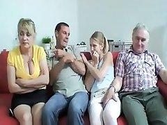 Group Sex, Facial, Small Tits, Saggy Tits